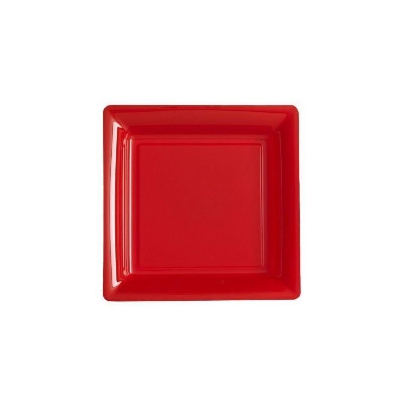 Piatto quadrato rosso 23x23 cm plastica usa e getta - il 12