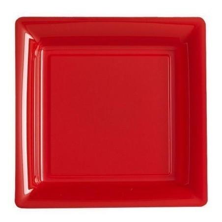 Assiette carrée rouge 23x23 cm en plastique jetable - les 12