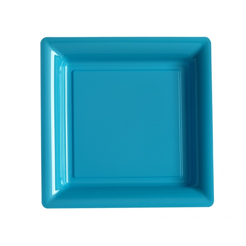 Plate square blue turquoise 23x23 cm disposable plastic - 12