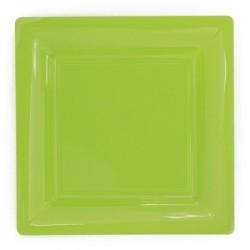 Anice verde quadrato piatto 23x23 cm plastica monouso - 12