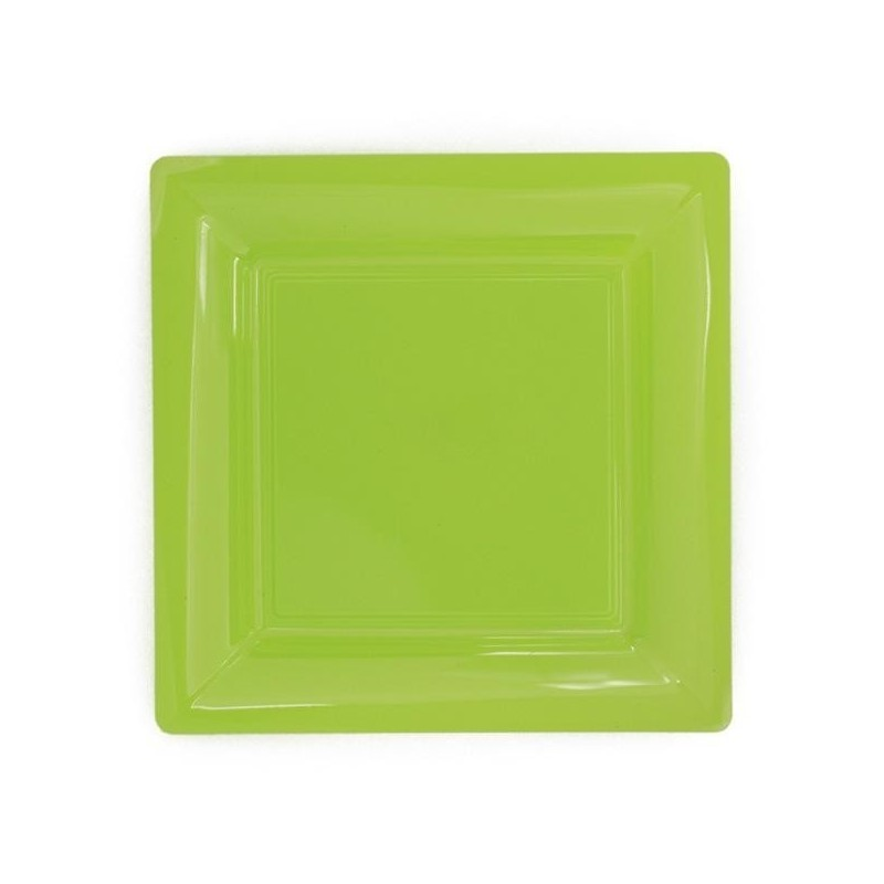 Plate square green anis 23x23 cm disposable plastic - 12