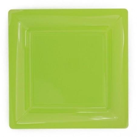 Assiette carrée vert anis 23x23 cm en plastique jetable - les 12