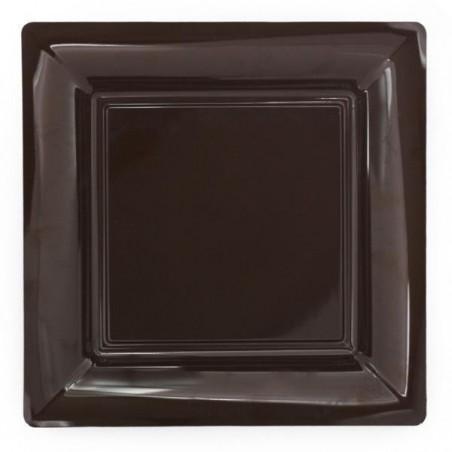 Assiette carrée chocolat 29x29 cm en plastique jetable - les 12
