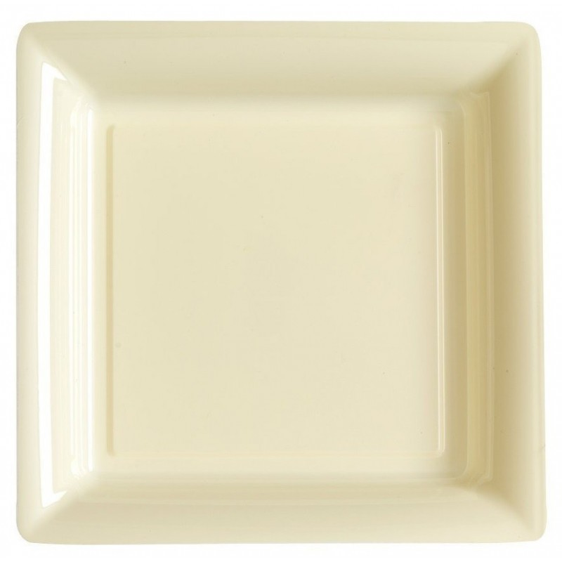 Piastra quadrata avorio 29x29 cm plastica usa e getta - il 12