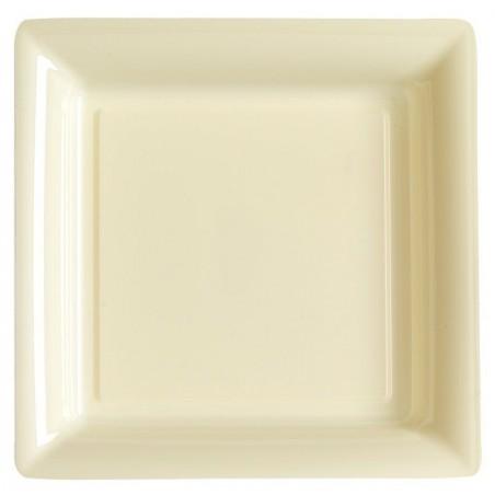 Assiette carrée ivoire 29x29 cm en plastique jetable - les 12