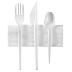 Set di 3 posate bianche + 1 tovagliolo bianco in borsa singola (forchetta + coltello + cucchiaio di dessert - 10
