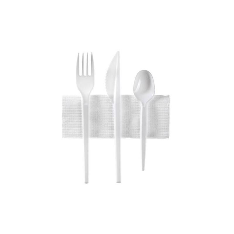 Set de 3 Couverts blancs + 1 serviette cocktail blanche en sachet individuel (Fourchette + Couteau + Cuillère à Dessert - les 10