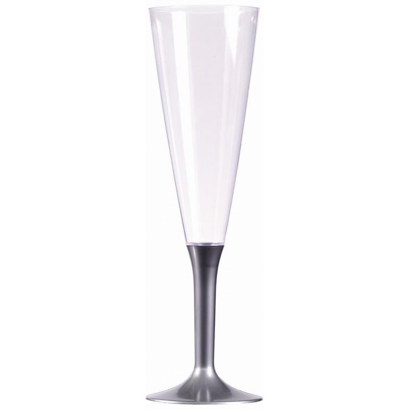 Flûte à Champagne en Plastique pied gris argent 15 cl - les 10
