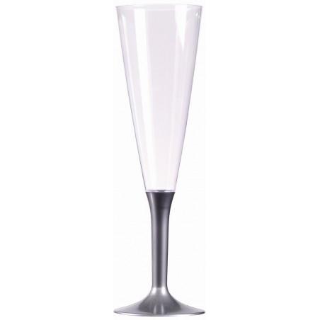 Flauto di Champagne in plastica grigio argento 15 cl - il 10