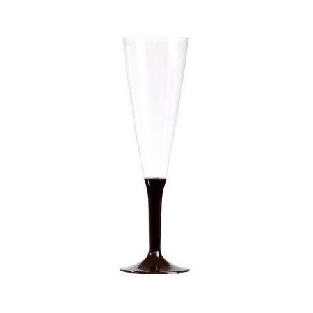 Copa de champán de plástico pies de chocolate 15 cl - 10