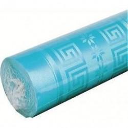 Nappe Bleue Turquoise en papier damassé largeur 1,20 m - le rouleau de 25 m