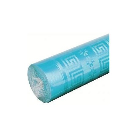 Tablecloth Blue Turquoise in damask paper width 1.20 m - the 25 m roll