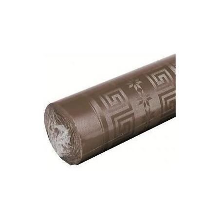 Nappe Chocolat en papier damassé largeur 1,20 m - le rouleau de 25 m