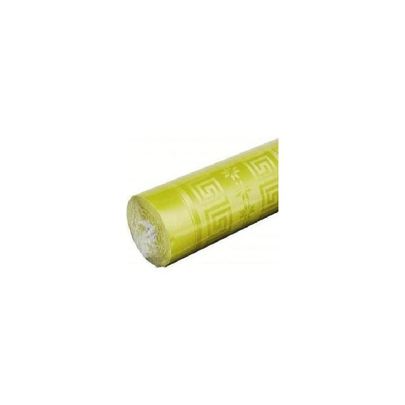 Nappe Verte Anis en papier damassé largeur 1,20 m - le rouleau de 25 m