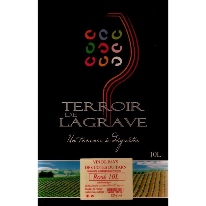 Terroir de Lagrave COTES DU TARN Wine Rosé VDP Wine fountain BIB 10 L