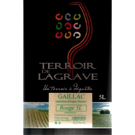 Terroir de Lagrave GAILLAC Red Wine AOC BIB wine fountain 5 L