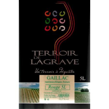 Terroir de Lagrave GAILLAC Vino tinto AOC BIB fuente de vino 5 L