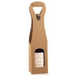 Etui Valisette Havane Kraft pour 1 bouteille avec fenêtre tout format 9x9x41 cm