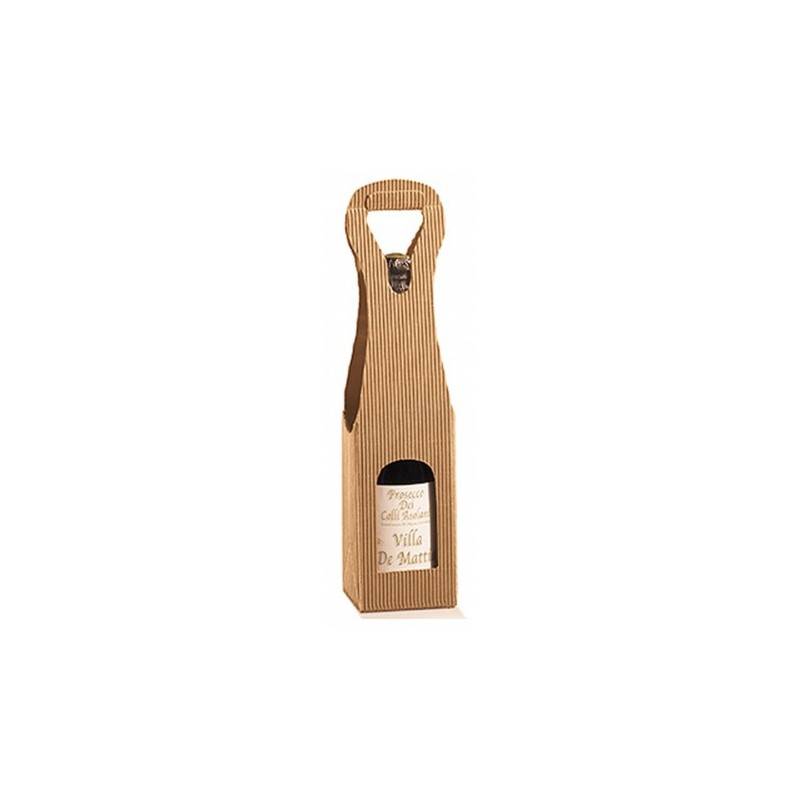 Case Havana Kraft Estuche para 1 botella con ventana de cualquier tamaño 9x9x41 cm