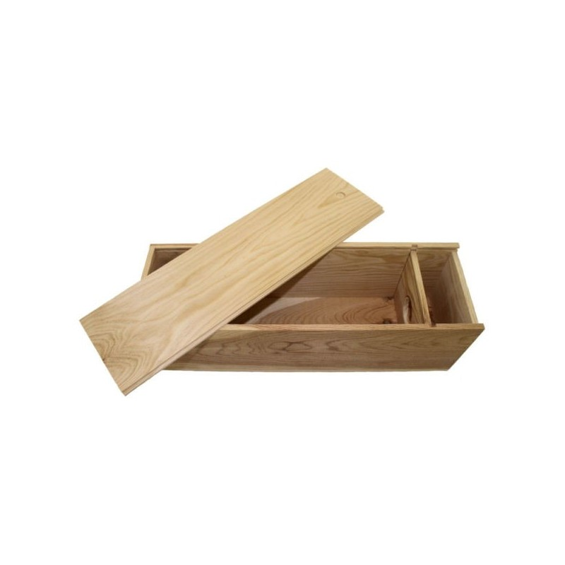 WOODEN BOX for 1 magnum Bordelais format with zipper lid and guillotine inside