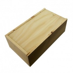 WOODEN BOX for 2 bottles Bordelaise format with zipper and board inside