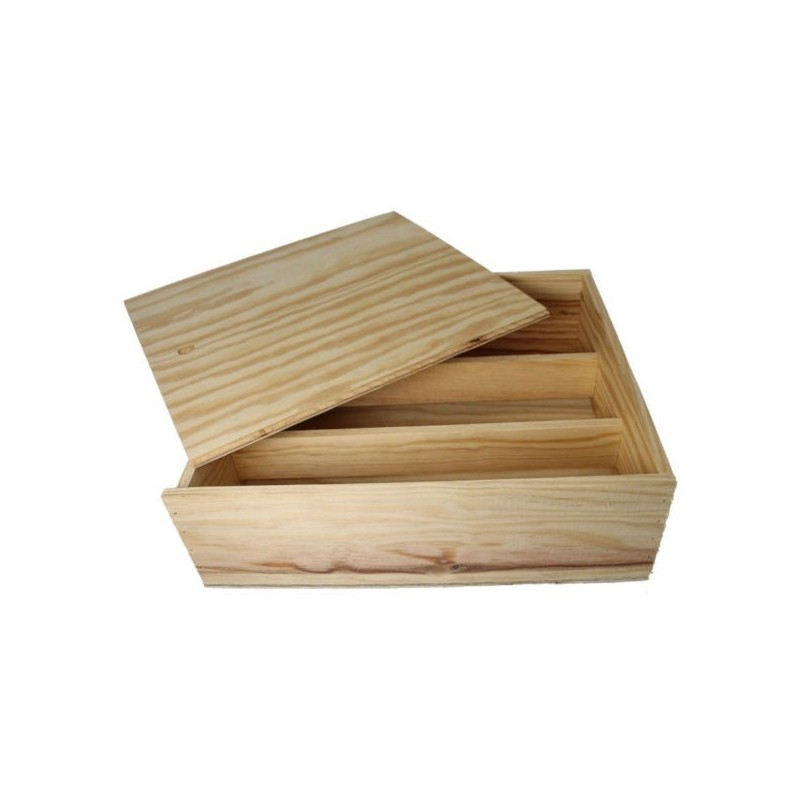 WOODEN BOX for 3 bottles of Burgundy format with zipper and boards inside