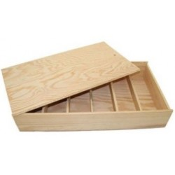 WOODEN BOX for 6 bottles of Bordelaise format with zipper lid and small boards inside