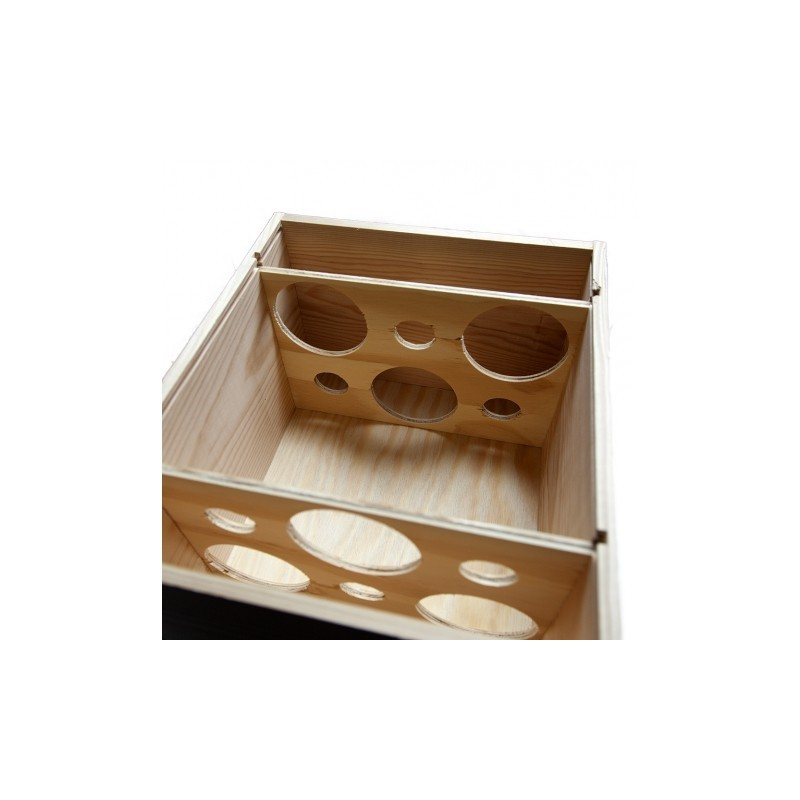 WOODEN BOX for 6 Burgundy bottles with zipper and guillotines inside, 2 x 3