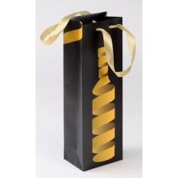 POCHE Noire et Doré pour 1 bouteille avec son ruban 12 x 8,5 x 36 cm