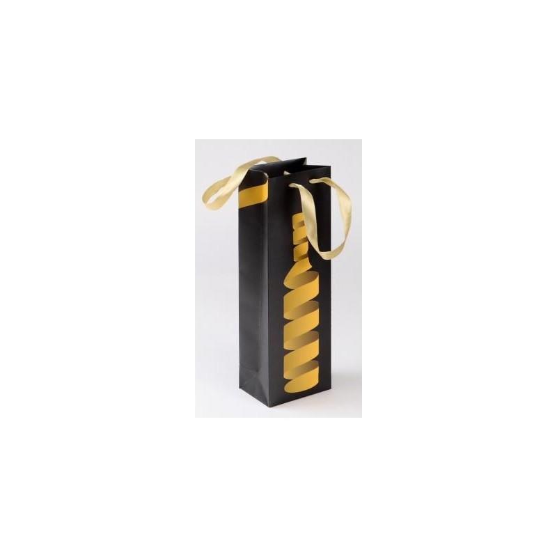 BOLSILLO negro y dorado para 1 botella con su cinta de 12 x 8,5 x 36 cm