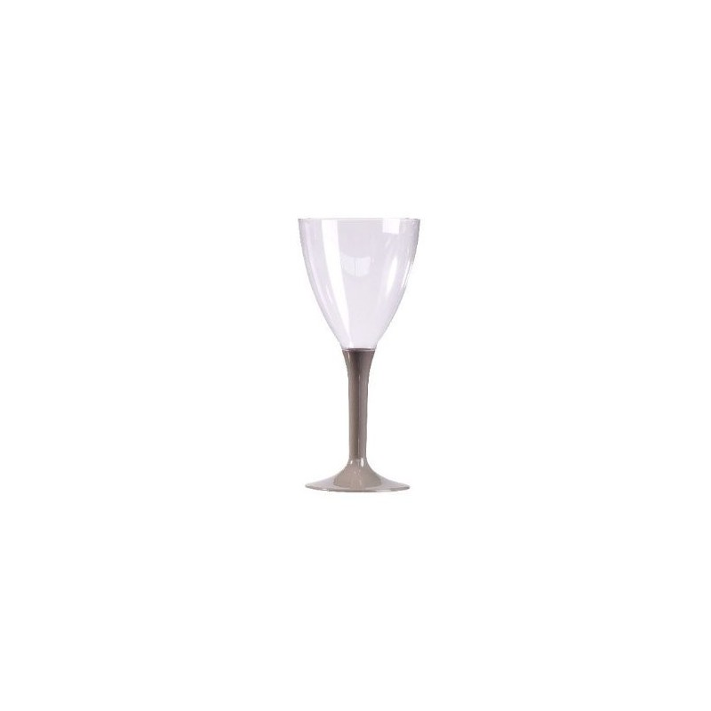 GLASS Wine Foot Gray Silver Plastic Crystal Disposable 16 cl - 10
