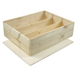 WOODEN BOX for 3 bottles Bordelaise format with zipper and boards inside