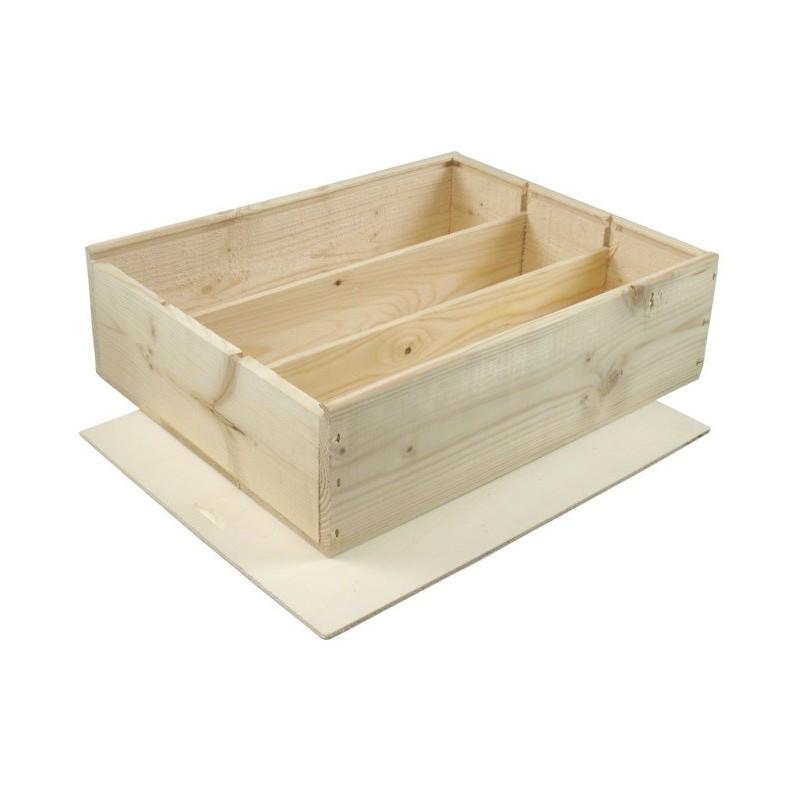 caisse en bois pour 3 bouteilles de format bordelaises avec. Black Bedroom Furniture Sets. Home Design Ideas