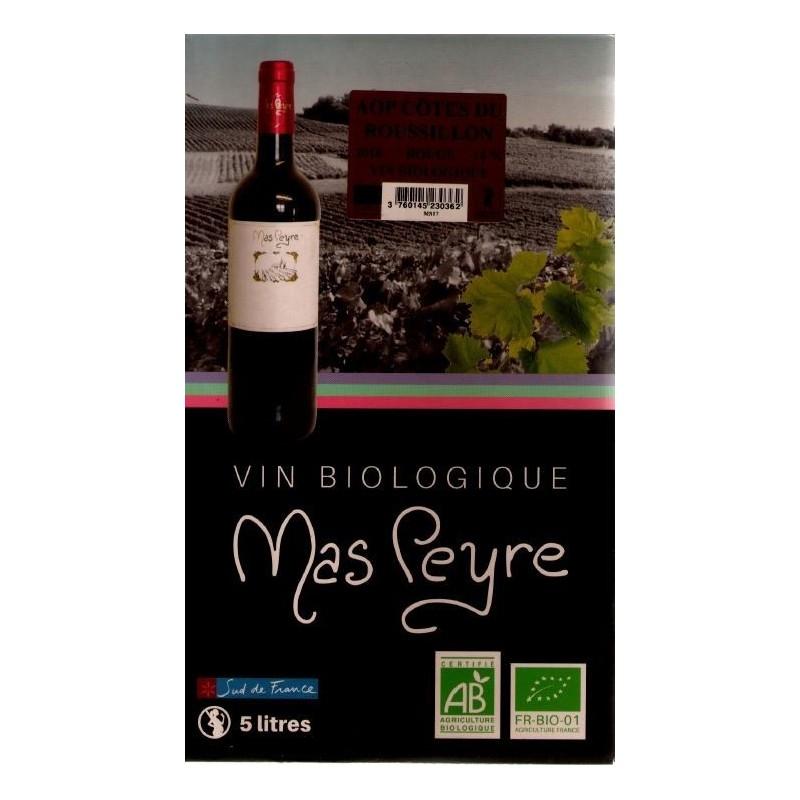 Mas Peyre COTES OF THE ROUSSILLON Vino tinto DOP Fuente de vino BIB 5 L