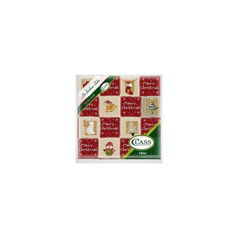 SERVIETTE Décor Wooly Rouge en papier jetable 40 x 40 cm 2 épaisseurs double point - le sachet de 12