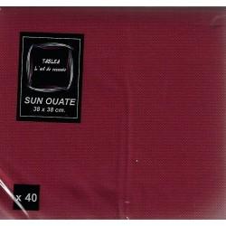 BORDEAUX TOALLA en papel desechable 38 x 38 cm Sun Ouat plain - la bolsa de 40