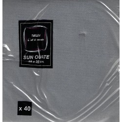 SILVER GRAY TOWEL in disposable paper 38 x 38 cm Sun Ouat plain - the bag of 40