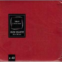 SERVIETTE ROUGE en papier jetable 38 x 38 cm Sun Ouate unie - le sachet de 40