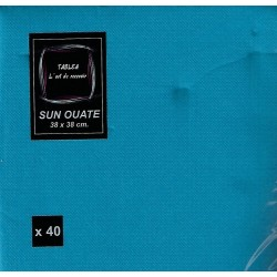 BLAUES TÜRKIS TUCH in Einweg-Papier 38 x 38 cm Sun Ouate schlicht - der Beutel von 40