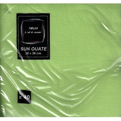 ANISE GREEN TOWEL in disposable paper 38 x 38 cm Sun Ouate plain - the bag of 40