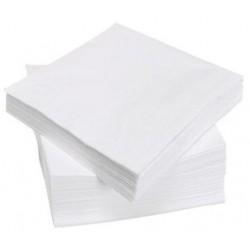 SERVIETTE BLANCHE en papier jetable 38 x 38 cm 2 épaisseurs - le sachet de 100