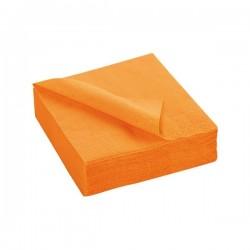 SERVIETTE MANDARINE en papier jetable 38 x 38 cm 2 épaisseurs - le sachet de 50