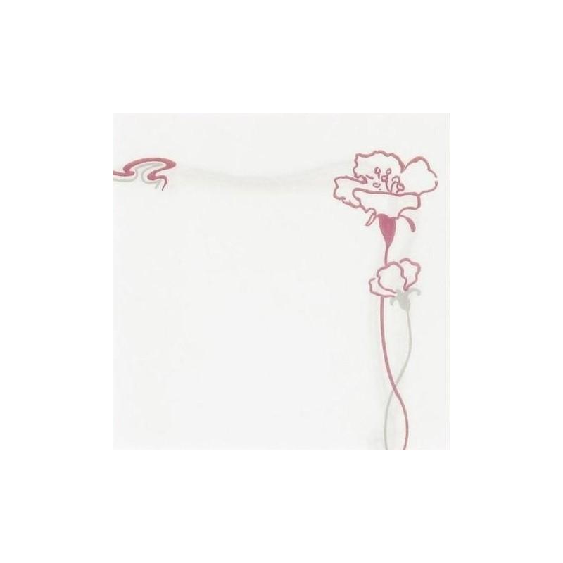 """SERVIETTE BLANCHE en papier jetable 40 x 40 cm non-tissé avec liseré """"Ibiscus"""" bordeaux - le sachet de 50"""