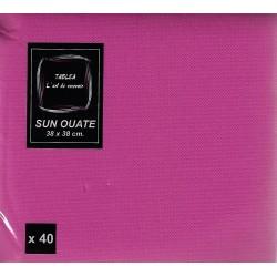 FUCSIA PINK TOWEL en papel desechable 38 x 38 cm Sun Ouate plain - la bolsa de 40
