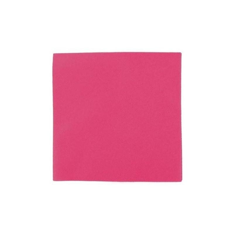 Papel desechable de servilleta de cóctel FUCHSIA 20 x 20 cm doble punta de doble capa-100 bolsita