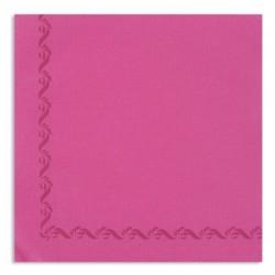 SERVIETTE ROSE FUCHSIA avec liseré en papier jetable Sun Ouate 38x38 - le sachet de 50