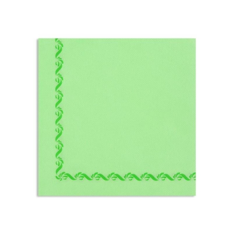 SERVIETTE VERT ANIS avec liseré en papier jetable Sun Ouate 38x38 - le sachet de 50