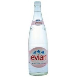 EAU EVIAN - 12 bouteilles de 1 L en verre consigné (consigne de 4,20 € comprise dans le prix)