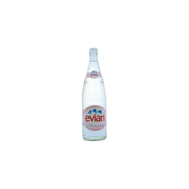 AGUA EVIAN - 12 botellas de 1 L en vidrio retornable (depósito de 4,20 € incluido en el precio)