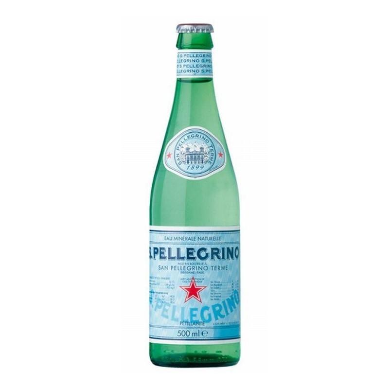 Eau SAN PELLEGRINO - 20 bouteilles de 50 cl en verre consigné (consigne de 4,80 € comprise dans le prix)